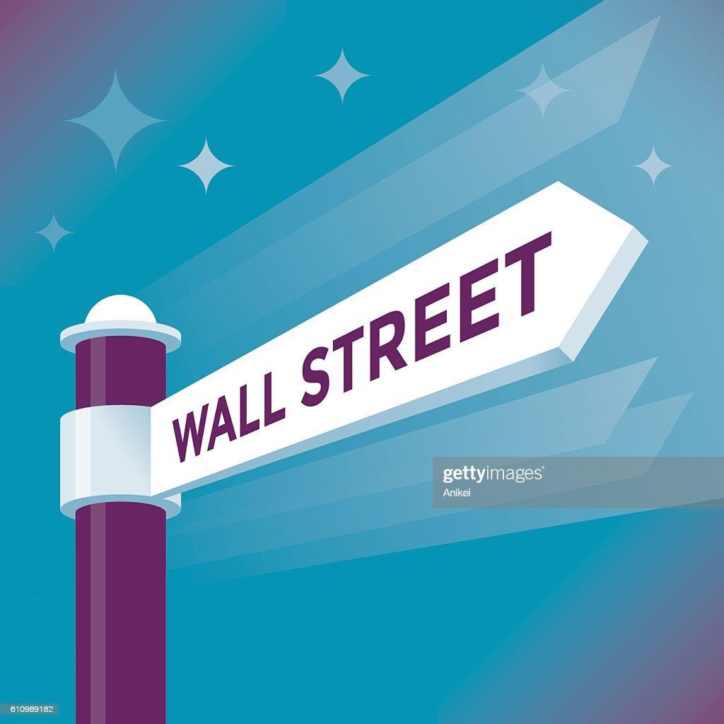 Abstract Wall Street arrow sign. NYSE and NASDAQ concepts.