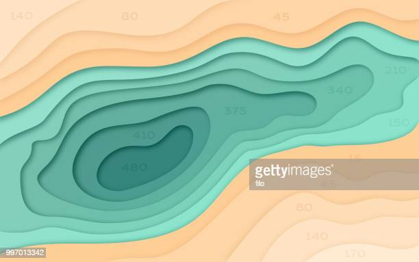 abstract water and terrain - digital composite stock illustrations