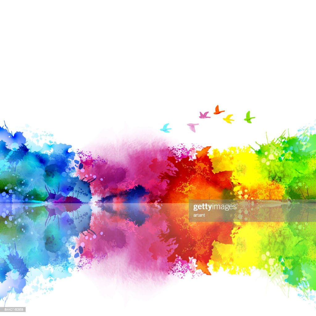 Abstract Watercolor fantastic landscape with a flying flock of birds. Calm lake created colored blotches and spots.
