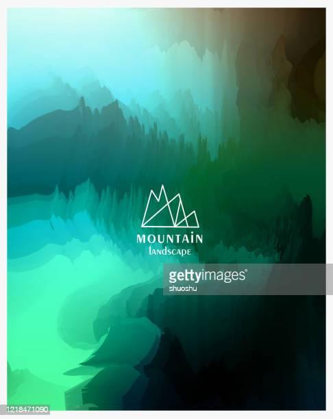 illustrations, cliparts, dessins animés et icônes de montagne abstraite d'aquarelle avec le paysage de nuage dans le fond d'affiche de nature - brouillard
