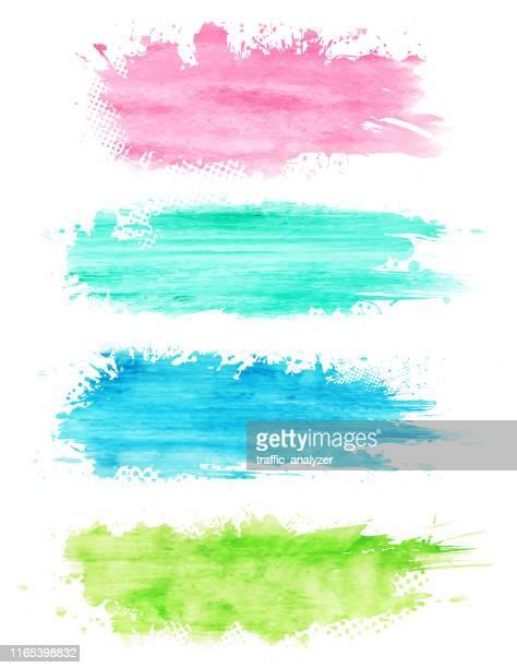 abstrakte aquarell farbe banner - färbemittel stock-grafiken, -clipart, -cartoons und -symbole