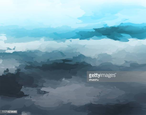 abstract watercolor style cloudy landscape background - impressionism stock illustrations