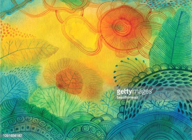 abstract watercolour background - field stock illustrations, clip art, cartoons, & icons