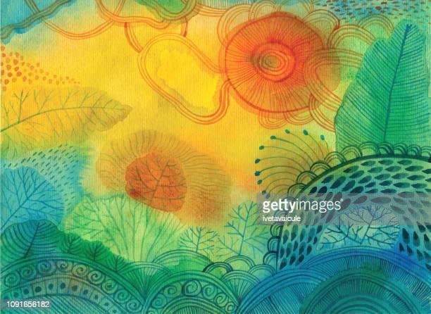 ilustrações, clipart, desenhos animados e ícones de fundo abstrato aquarela - horizontal