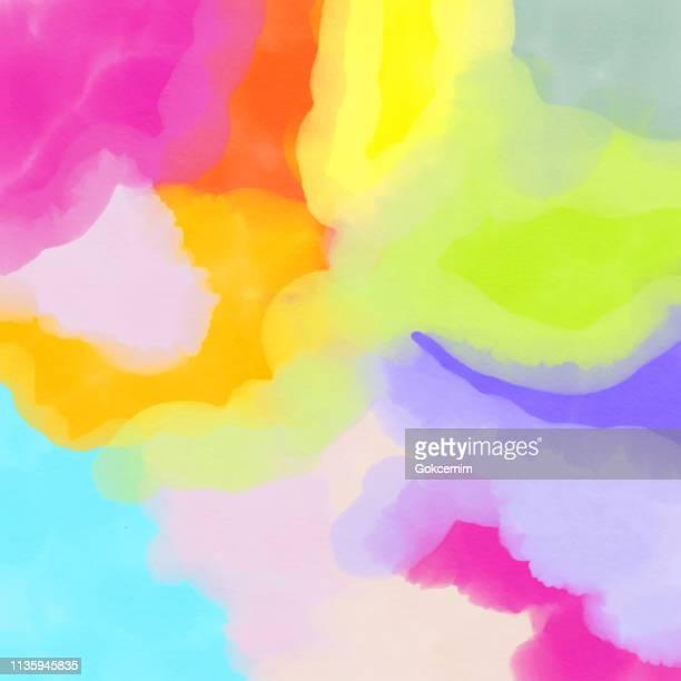 abstract aquarell-background mit bright color pinselstriche. - kunst und kunsthandwerk stock-grafiken, -clipart, -cartoons und -symbole