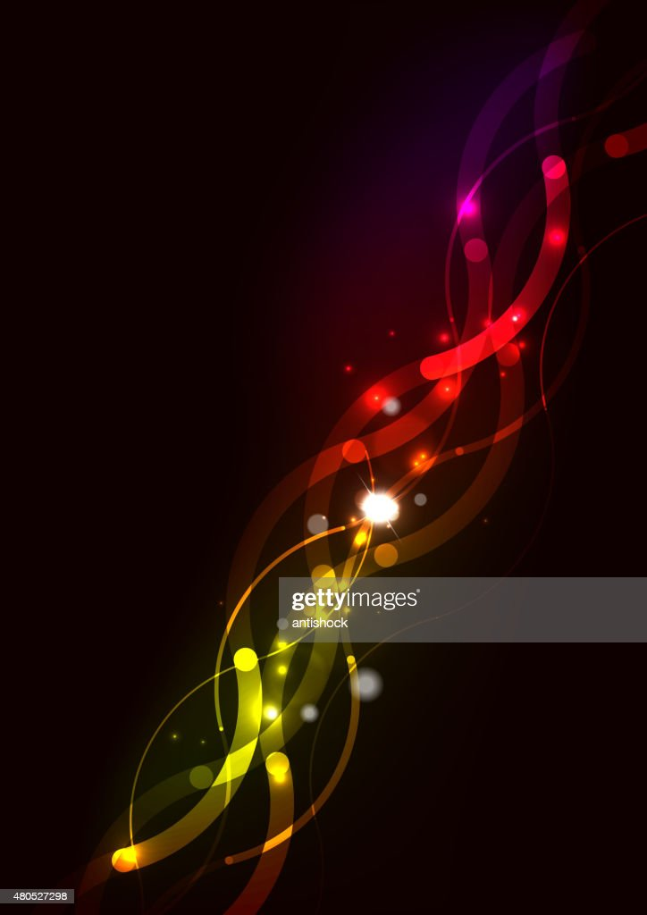 Abstract wave color glowing lines in dark space with stars : Vector Art