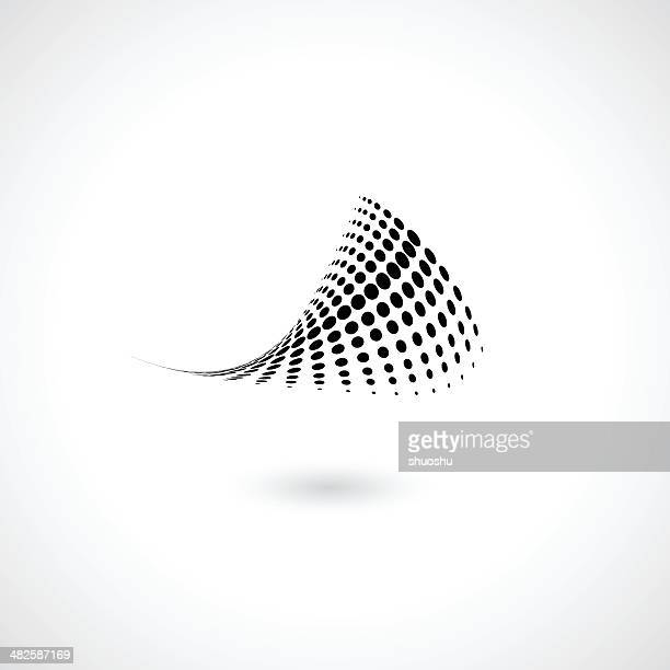 abstract wave style black dots shape