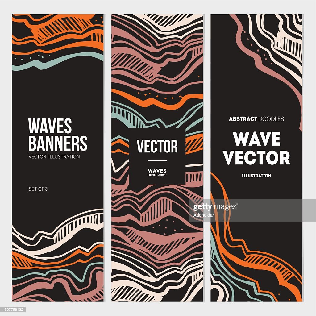 Abstract waves banner collection. Vector illustration