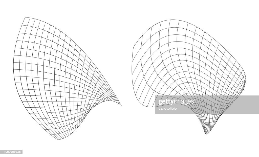 Abstract waving wireframed surfaces - Vector
