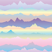 Abstract wavy mountain skyline background. Cardio effect seamles