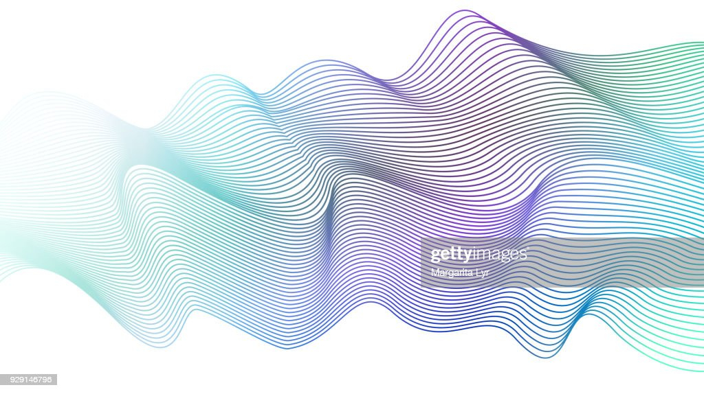 Abstract wavy striped pattern on white background. Vector light aquamarine wave. Line art design element. Elegant flowing shiny waves, ribbon imitation. EPS10 illustration