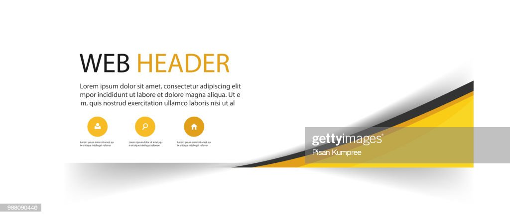 Abstract Web Header Design Yellow Background Vector Image