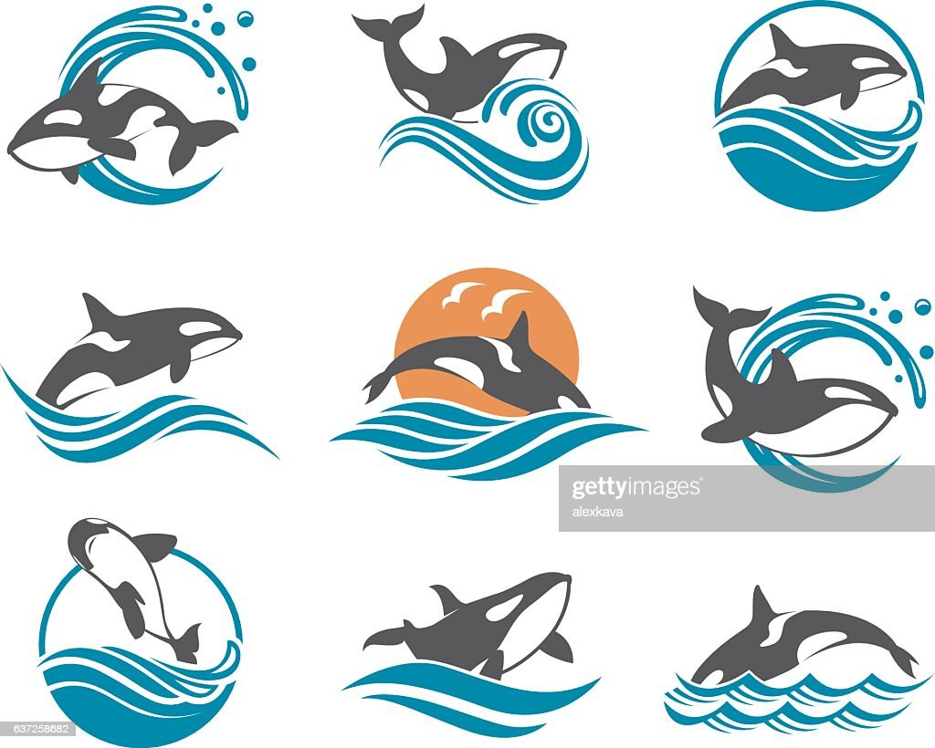 abstract whale icons set