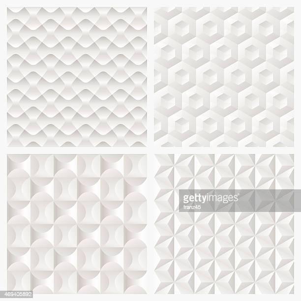 Abstract white 3d de papel patrón sin costuras fondo geométrico