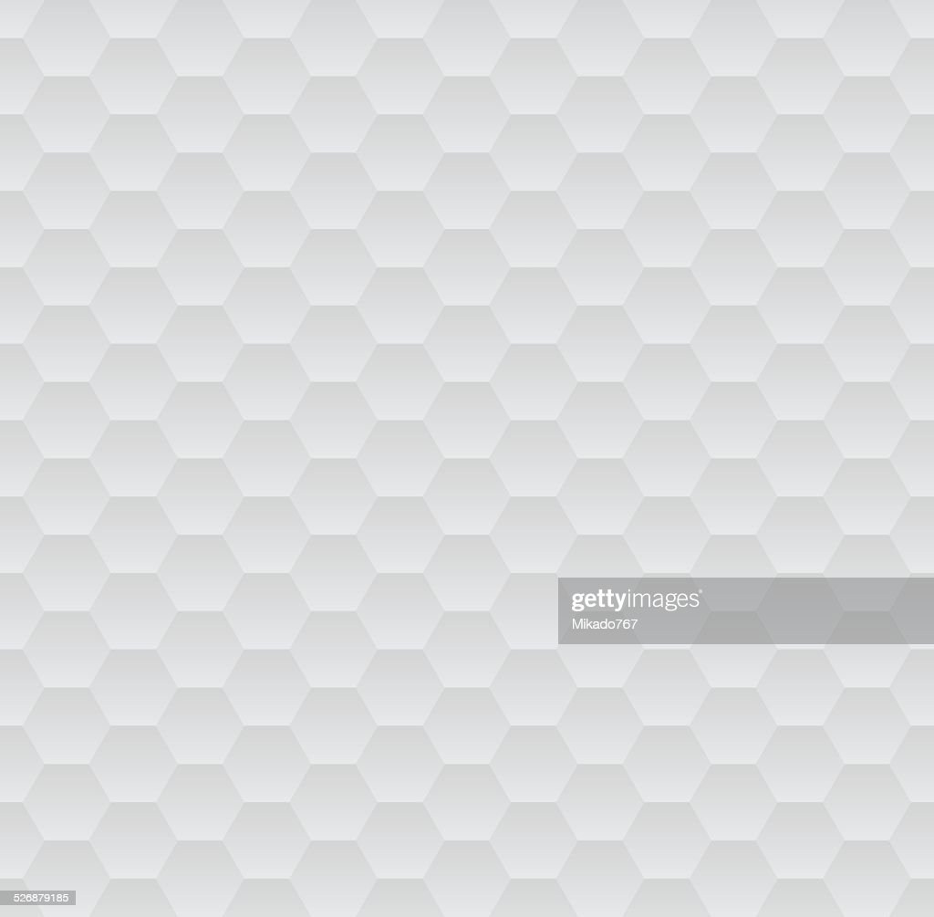 Abstract white and grey geometric hexagons seamless pattern