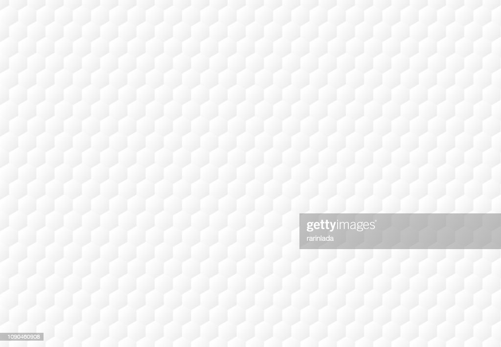 Abstract white hexagon embossed pattern background and texture.