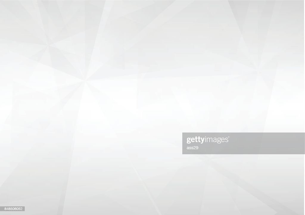 Abstract white perspective geometric shapes overlap on gray gradient background with soft light. Vector illustration