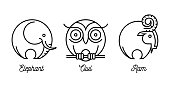 Abstract wild animal icons set with elephant, ram and owl