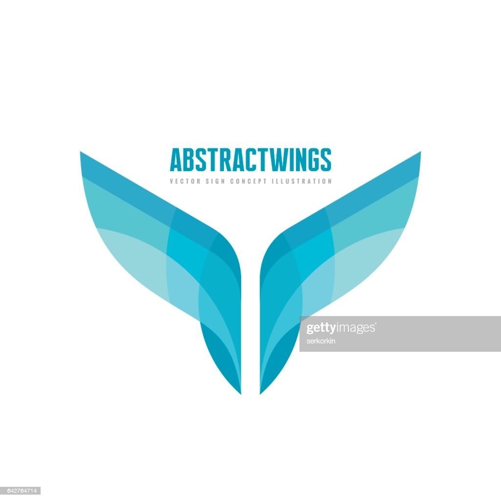 Abstract wings - vector business logo template concept illustration in flat style. Colored design element.