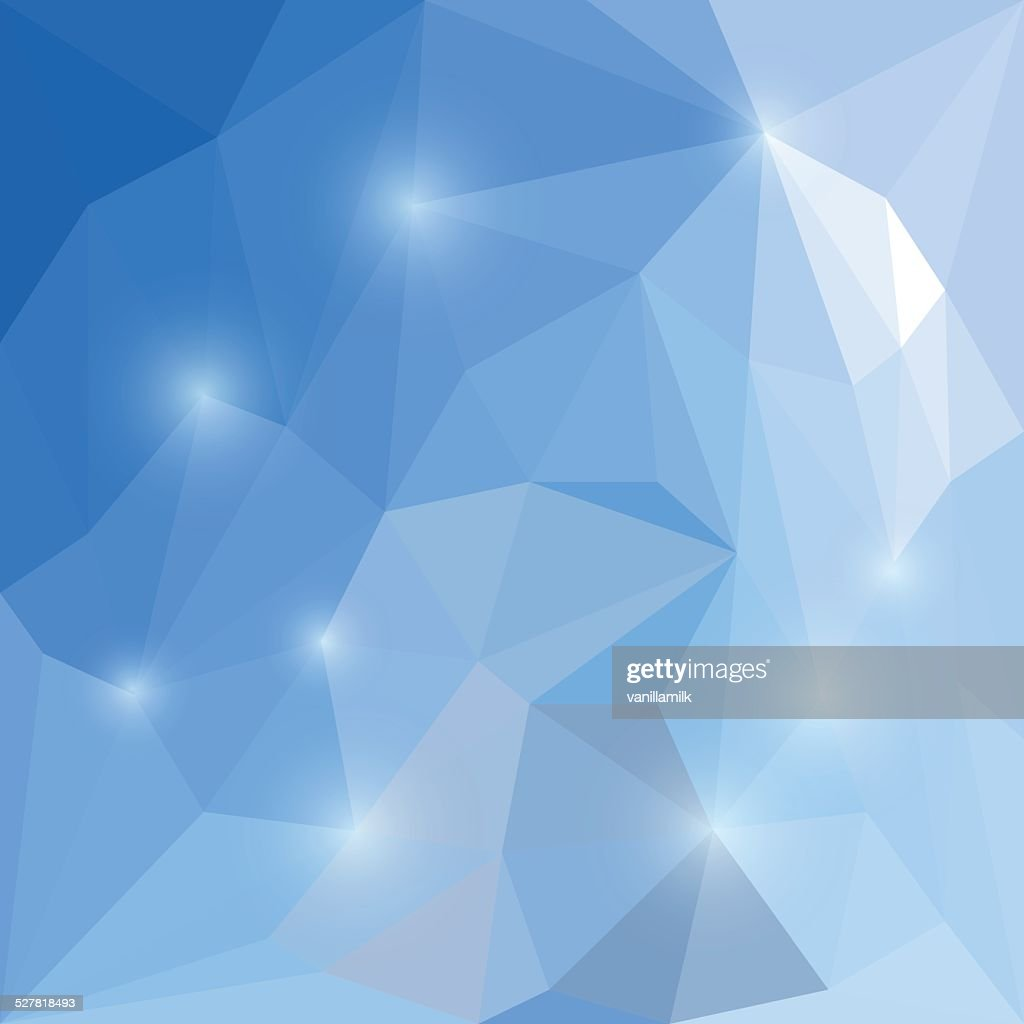 Abstract winter colored polygonal triangular background with glaring lights