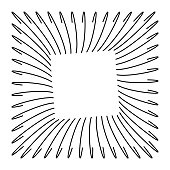 Abstract wireframe black square frame, formed by curved parallel lines. Minimal, simple graphic asset that can be easily shaped and colored with Adobe Illustrator, CorelDRAW, or Inkscape.