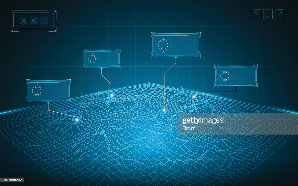 abstract wireframe grid landscape digital technology concept background