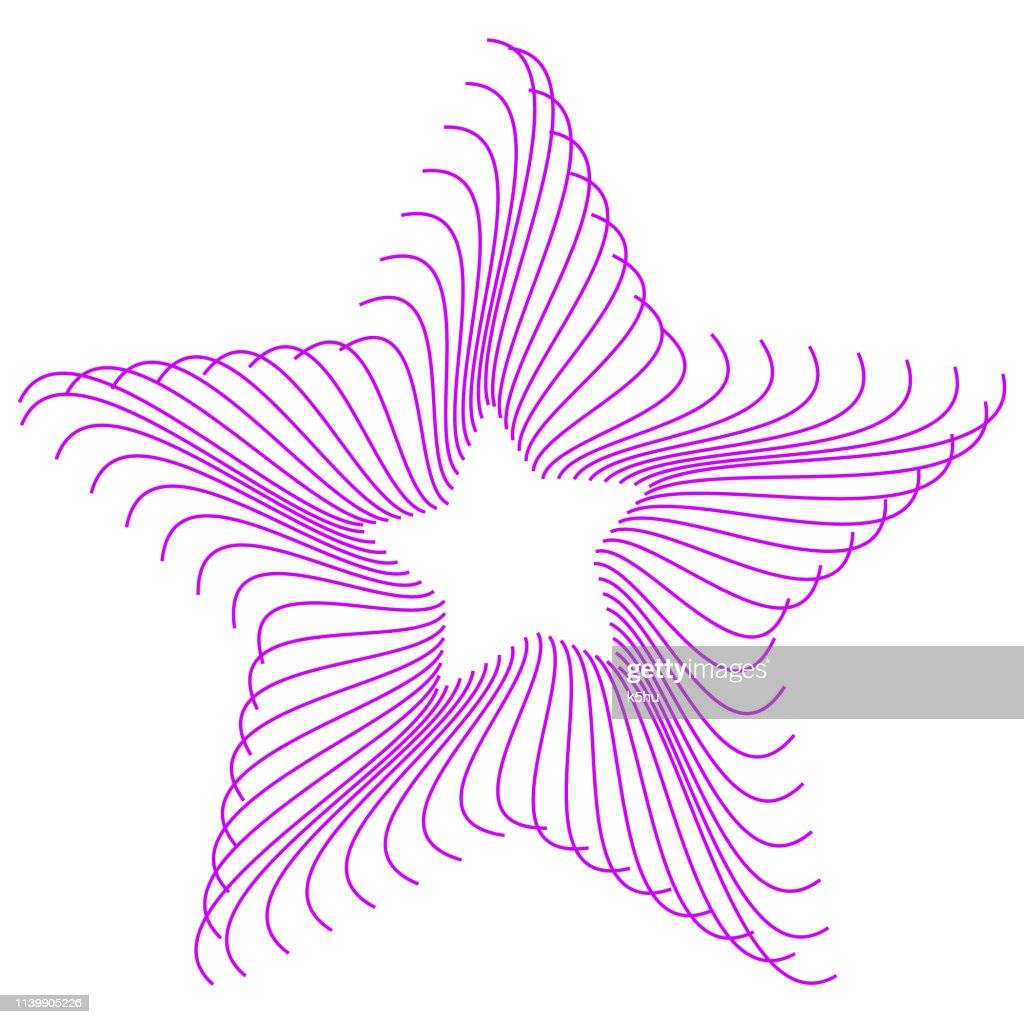 Abstract wire-frame star pattern colored purple, formed by curved parallel lines. Minimal, simple graphic asset that can be easily shaped and colored with Adobe Illustrator, CorelDRAW, or Inkscape.