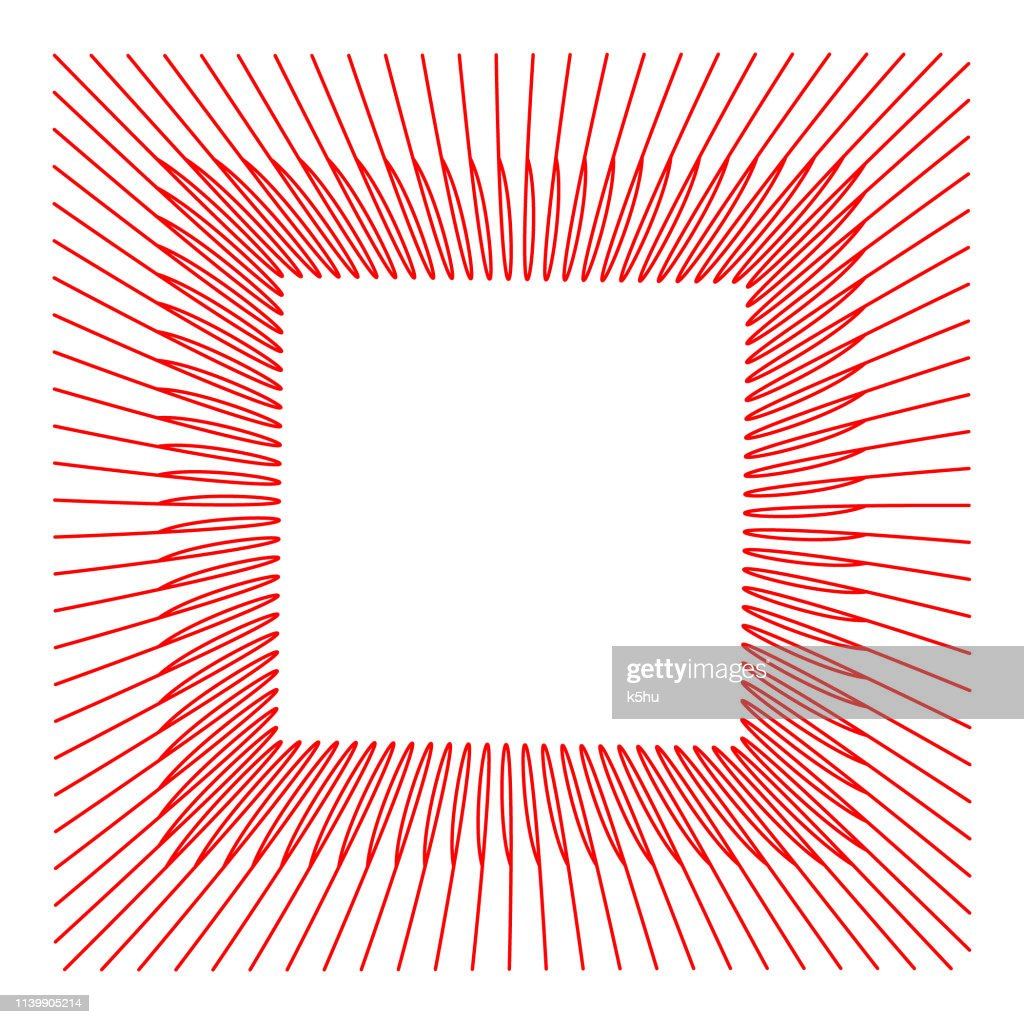 Abstract wireframe with tilted red square frame, formed by curved parallel lines. Minimal, simple graphic asset that can be easily re-shaped and colored with Adobe Illustrator, CorelDRAW, or Inkscape.