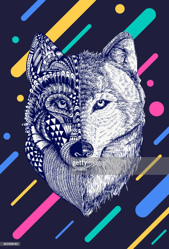 Abstract wolf illustration, Vector