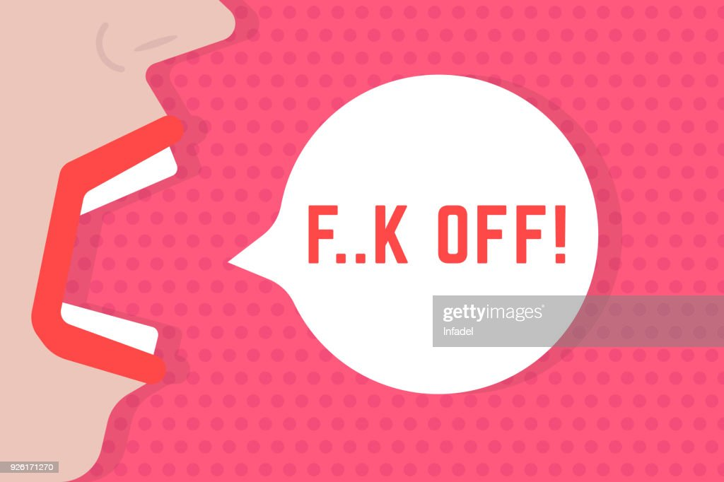 abstract woman shout fuck off speech bubble