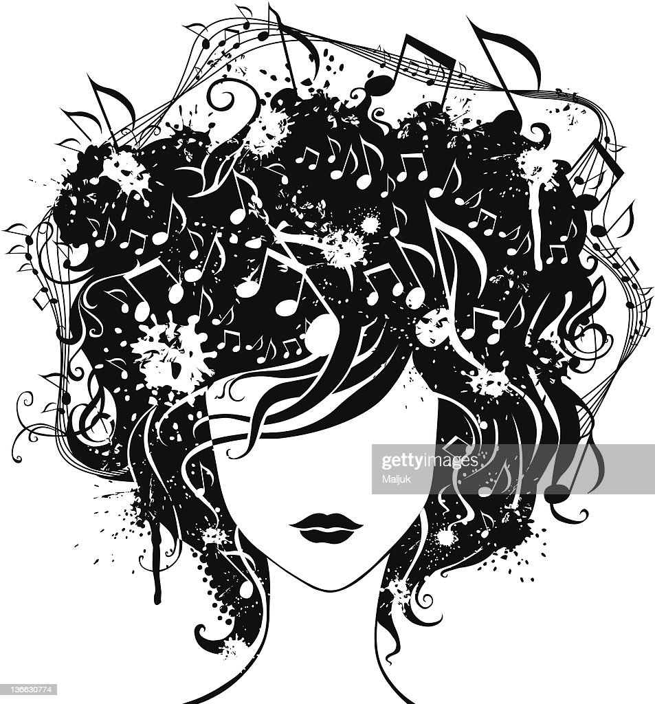 Abstract woman with music in hair