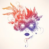 Abstract women face with flowers