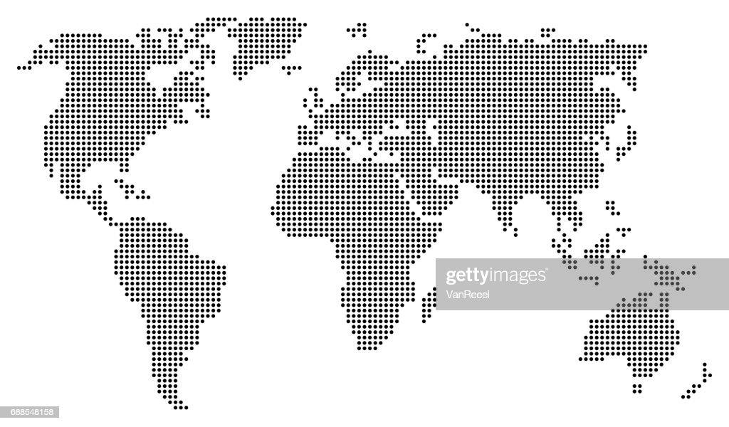 Abstract world map consisting of black dots / circles