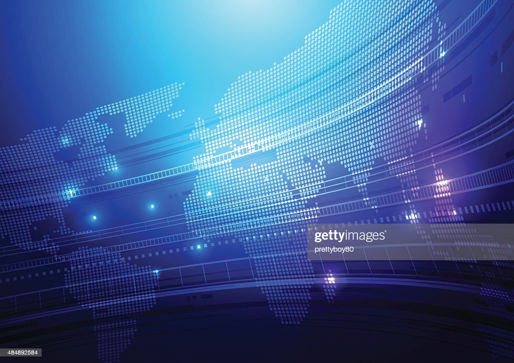 Abstract World Map & Technology Background
