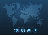Abstract world map with globes. Planet Earth, network, global communication, science and technology concept