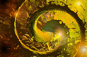 Abstract yellow fractal spiral art BG