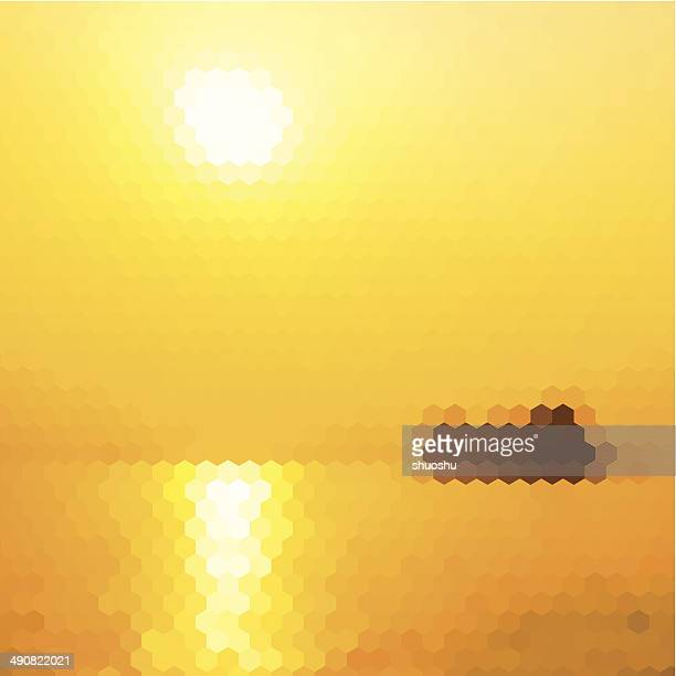 abstract yellow hexagon sun with sea pattern background - flare stack stock illustrations, clip art, cartoons, & icons