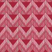 Abstract zig zag geometric tiled pattern. Fabric doodle line ornament. Linear texture. Seamless ornamental zigzag background