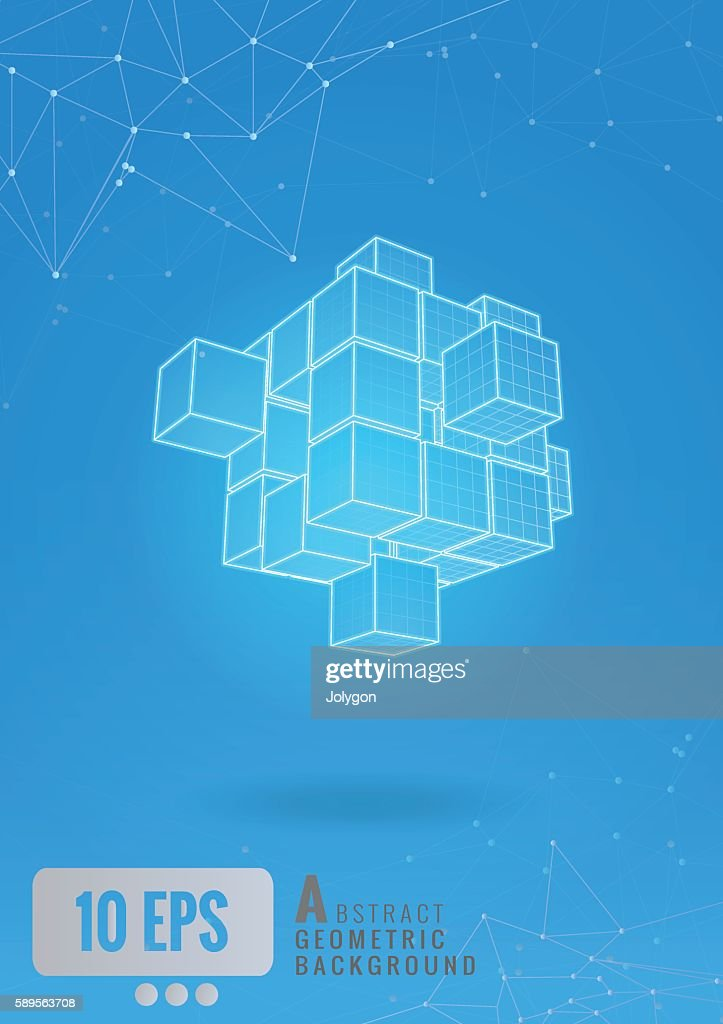 Abstract_geometric_cube_wireframe_set_glow_on_blue_BG