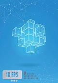 Abstract_geometric_cube_wireframe_set_glow_on_blue_BG