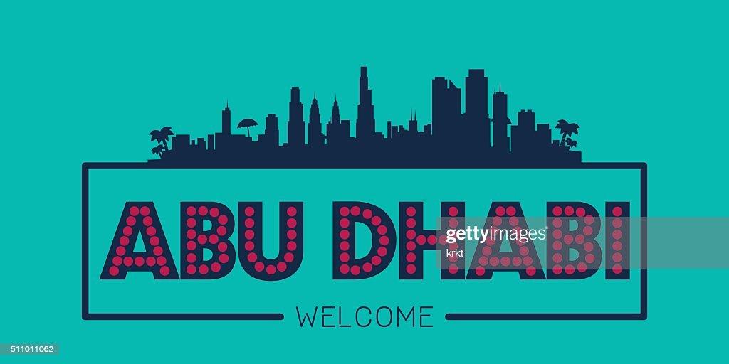 Abu Dhabi UAE city skyline typographic illustration