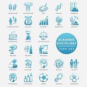 Academic disciplines icon set