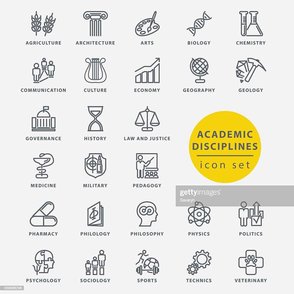 Academic disciplines icon set