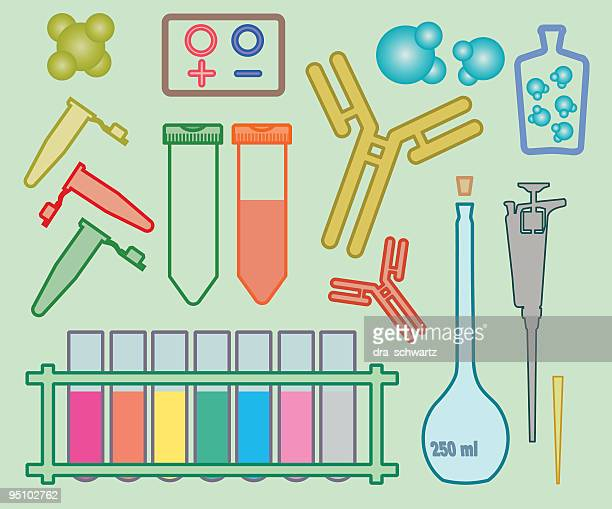 academic icons: biology - stage set stock illustrations