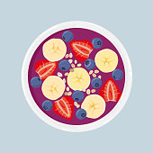 Acai smoothie bowl with banana, blueberries, strawberries and oats, isolated. Top view. Vector hand drawn illustration.