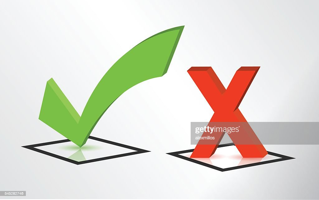 Accept and Decline check and x mark signs