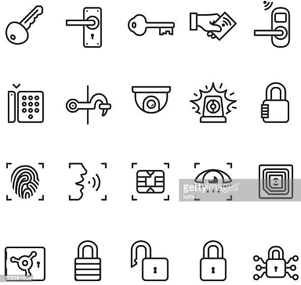 access control system icons - unico pro series - security camera stock illustrations