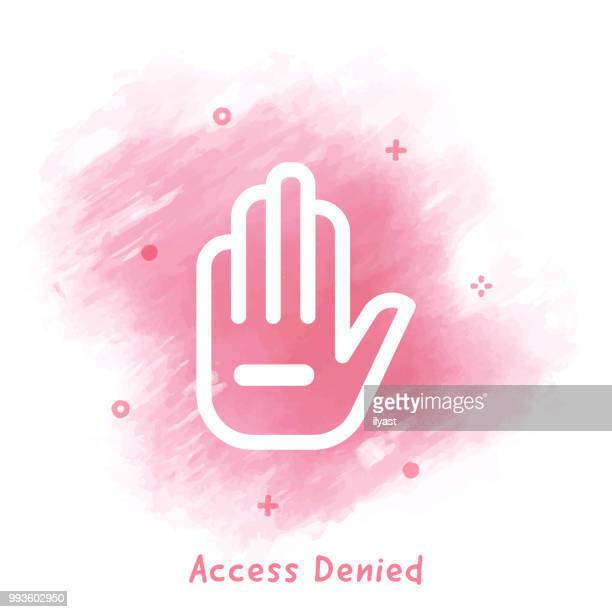 Access Denied Line Icon Watercolor Background