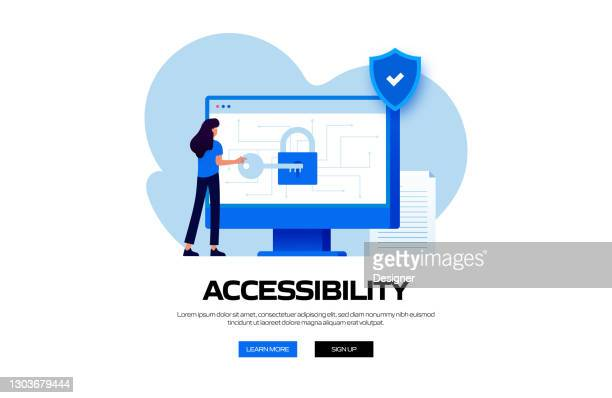 accessibility concept vector illustration for website banner, advertisement and marketing material, online advertising, business presentation etc. - verification stock illustrations