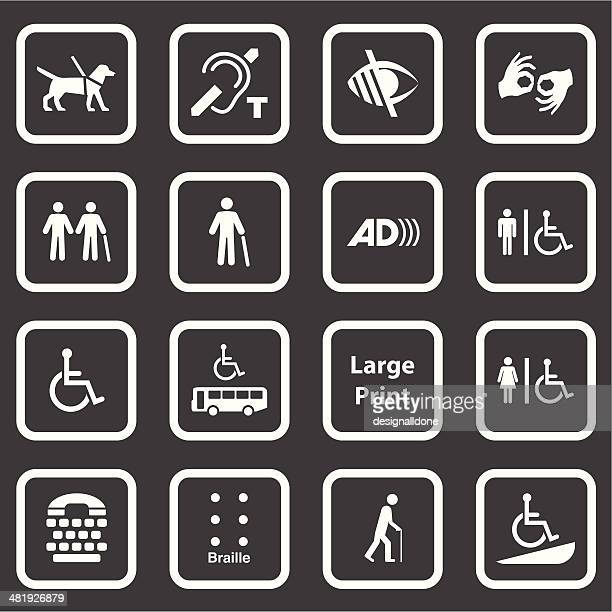 accessibility icons (white series) - sign language stock illustrations, clip art, cartoons, & icons